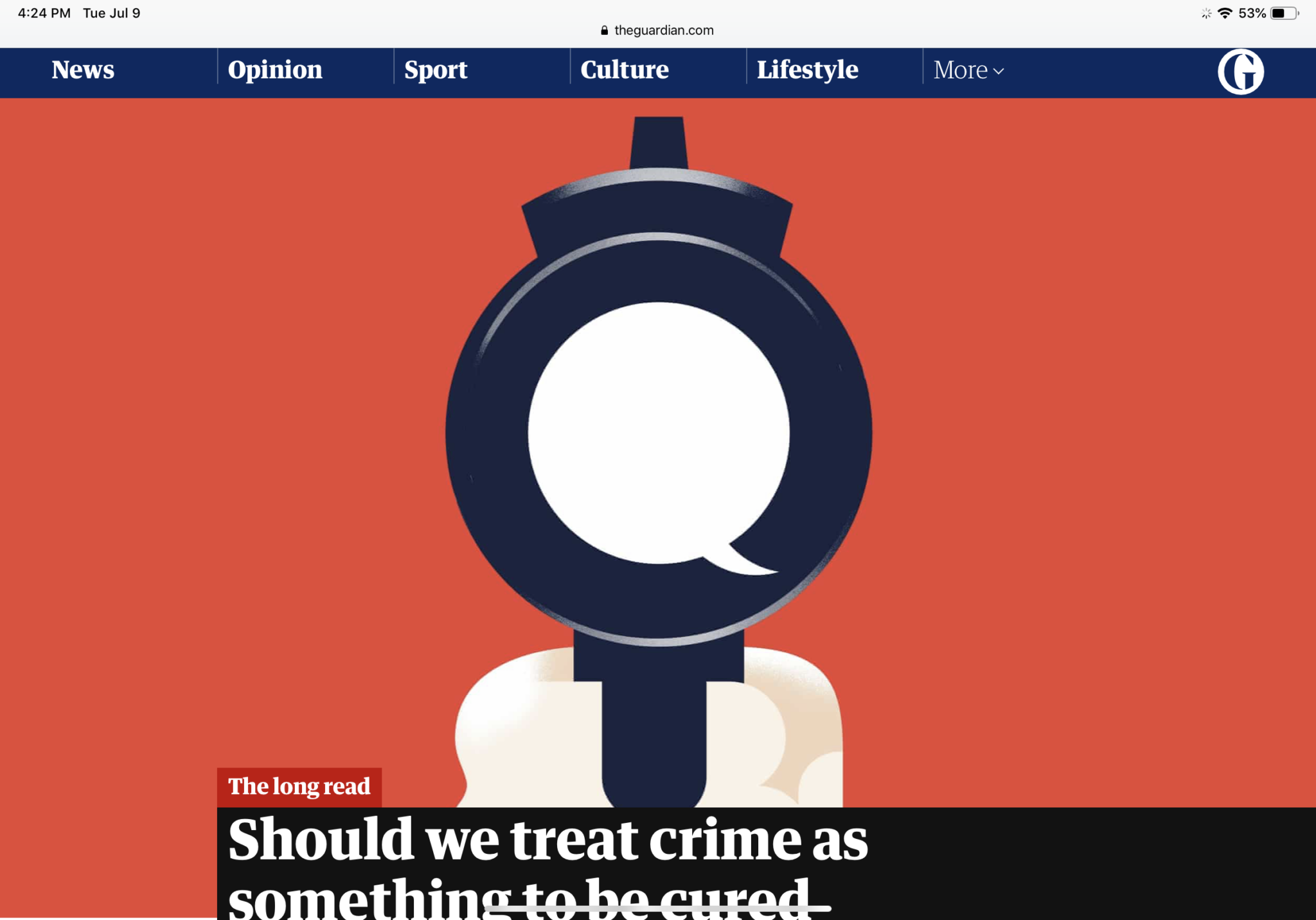 Guardian: Should We Treat Crime As Something To Be Cured